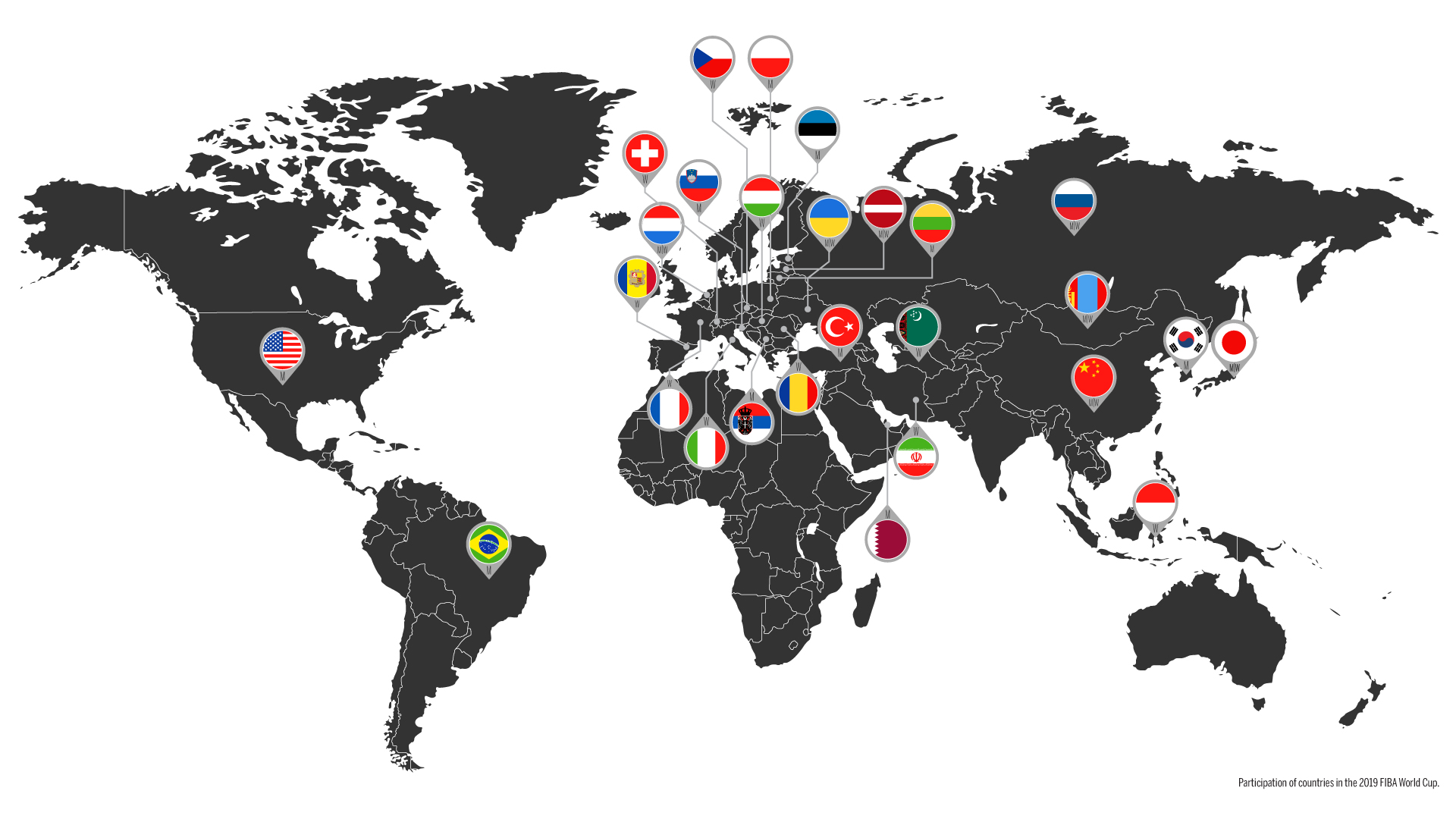 FIBA 3x3 World Map showing participating countries