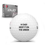 golf ball with custom text on it