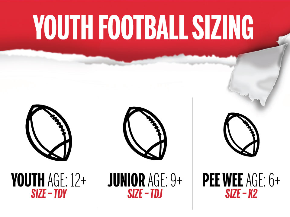 youth football sizing graphic