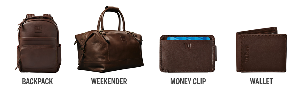 four leather products including backpack, travel bag, wallet, and money clip