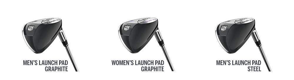 three launch pad golf club heads
