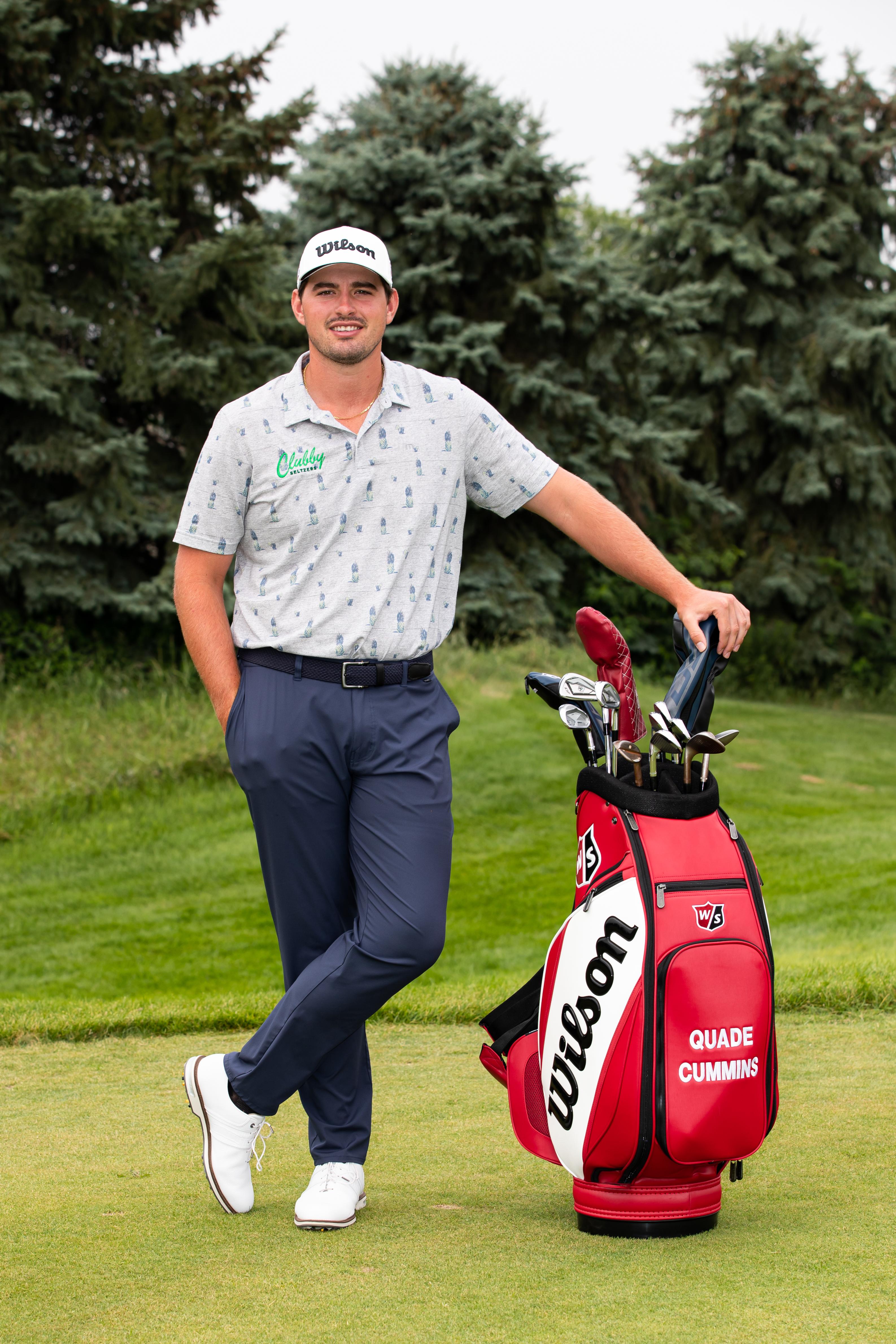 Quade Cummins and his golf bag