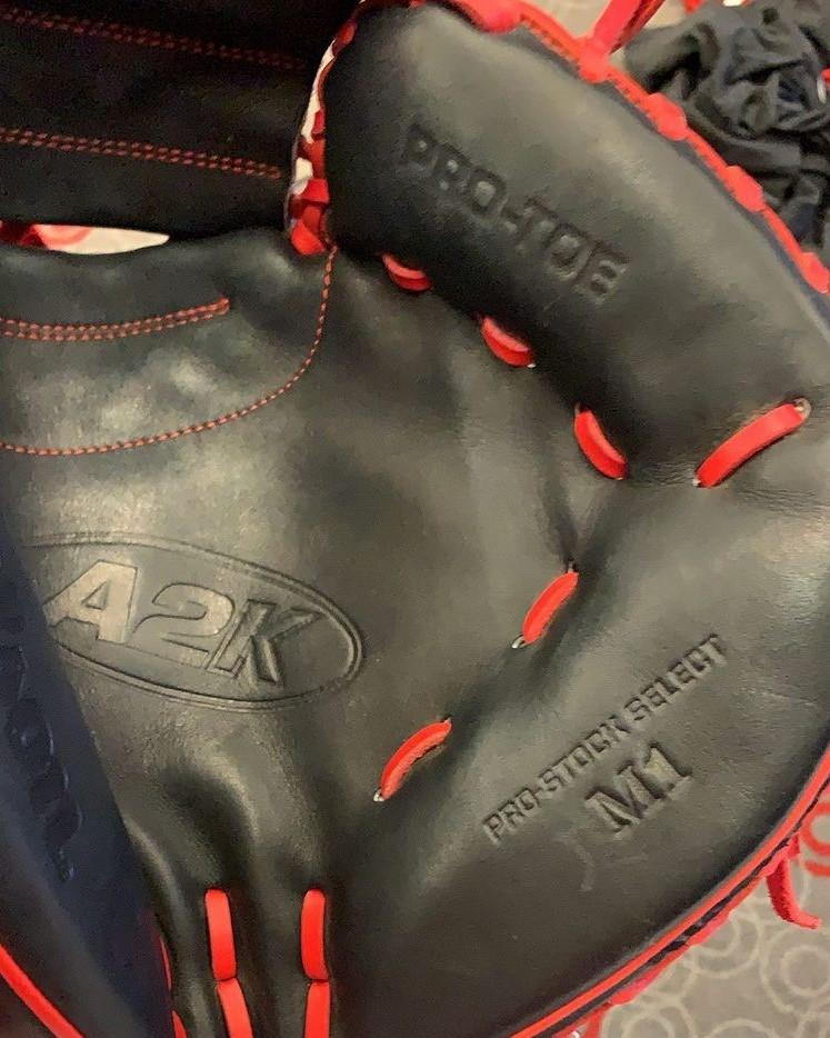 close-up of Stephenson's catcher's mitt
