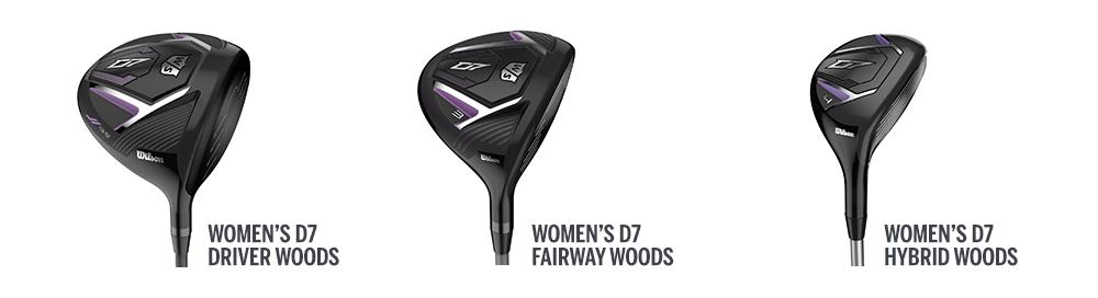 three D7 women's golf club heads