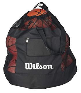 large mesh bag full of basketballs