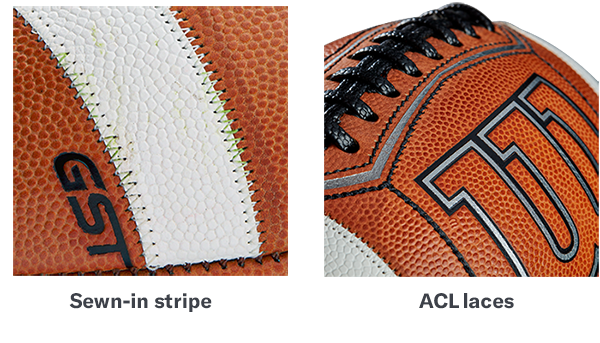 Prime and GST footballs showing closeups of laces, and logo details