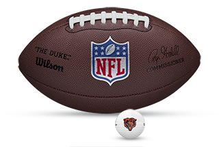 duke replica football with an NFL golf ball in front