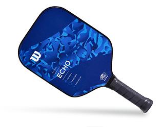tilted blue pickleball paddle
