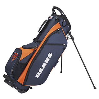 Golf bag with Chicago Bears logo on it