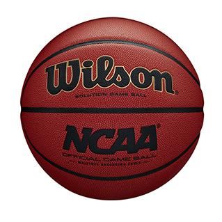 Close up of an NCAA official basketball
