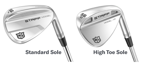 closeup of standard and high toe staff model wedge golf club heads