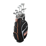women's complete golf set with a salmon-colored bag